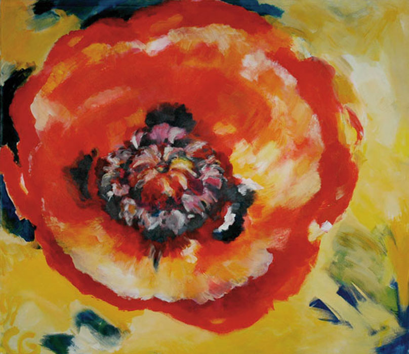 Mohnblume rund – 1997Acryl, Mischtechnik, Leinwand – 120 x 150 cm