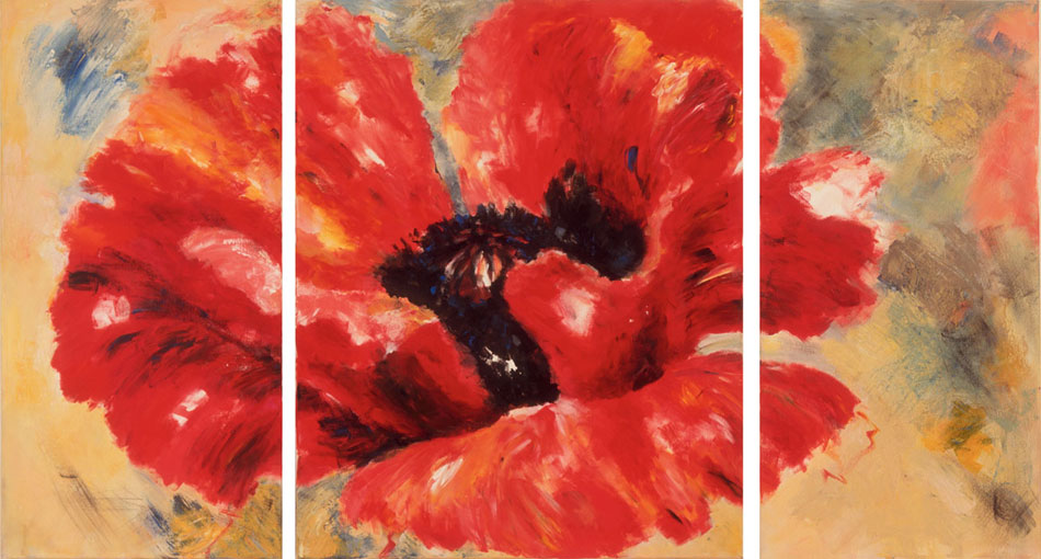 Mohn 3-teilig I 2003Mischtechnik, Leinwand – 100 x 160 (40/80/40) cm