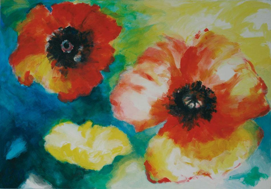 3 Mohnblumen groß II 1999Mischtechnik, Leinwand – 140 x 200 cm