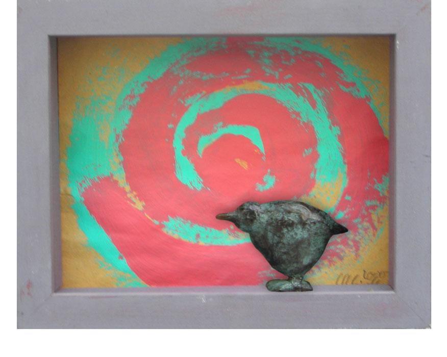 Spirale und Vogel 2000Bildkasten, Holz, Papier, Bronze – 19 x 24 cm