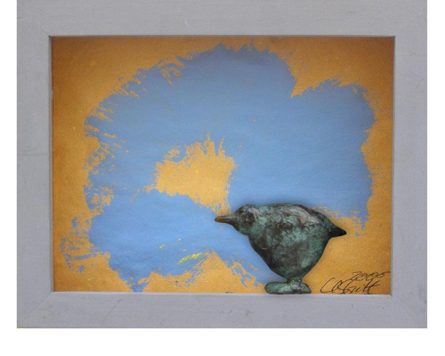 Blauer Mohn und Vogel 2000Bildkasten, Holz, Papier, Bronze – 19 x 24 cm