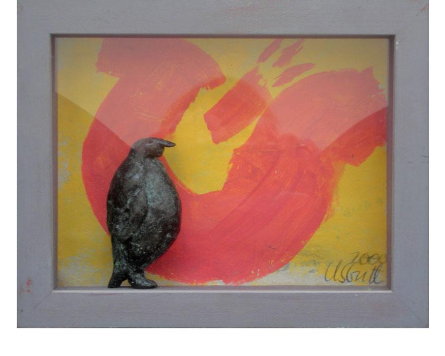 Tulpe und Pinguin S 2000Bildkasten, Holz, Papier, Bronze – 19 x 24 cm