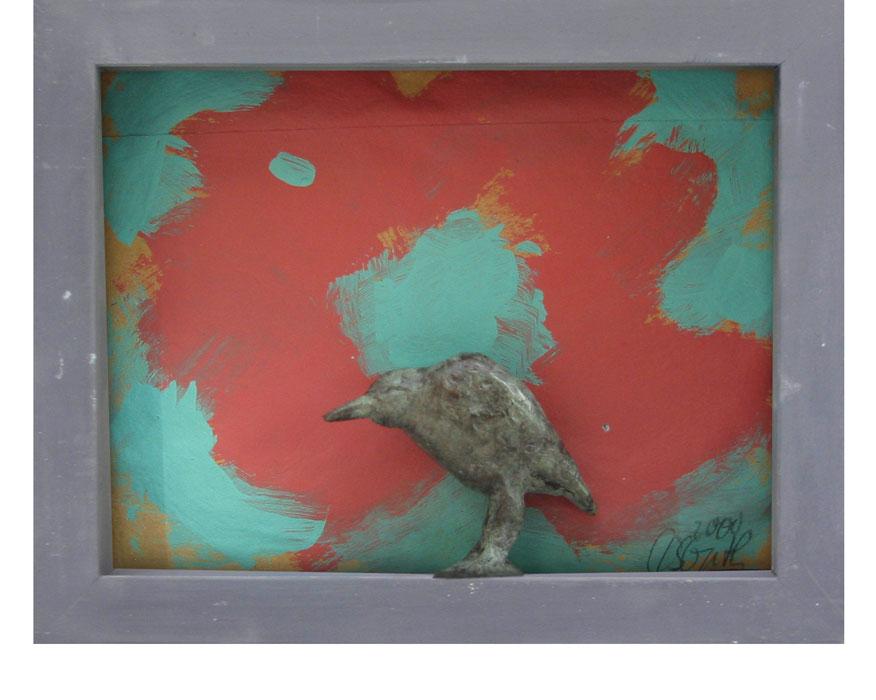 Roter Mohn und Rabe 2000Bildkasten, Holz, Papier, Bronze – 19 x 24 cm
