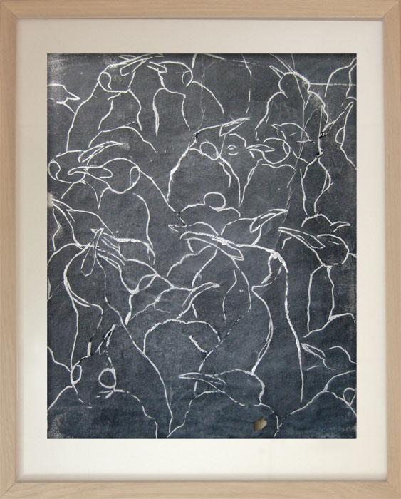 Pinguin Kolonie Nr. 10 2001Linoldruck, Papier – 50 x 40 cm