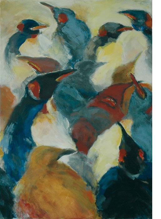 Pinguin Kolonie I 2002Mischtechnik, Leinwand – 70 x 100 cm