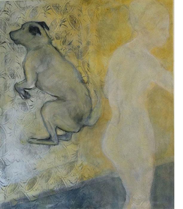 Hund mit Frau 2012Mischtechnik, Leinwand – 120 x 100 cm