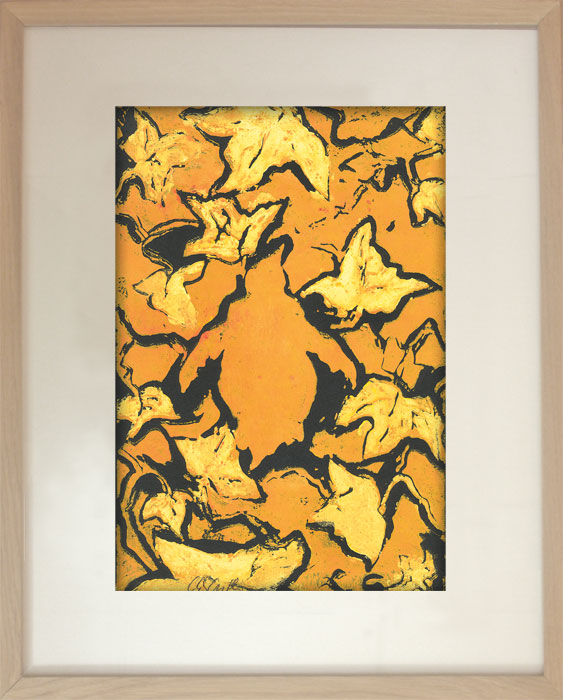 Pinguin im Efeu II Nr. 13Linoldruck, Karton – 29 x 23 cm