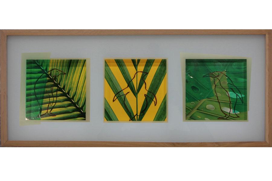 Palmen 2003IKEA Rahmen, Fotos bemalt, mit Folie collagiert – 31 x 71 x 3 cm