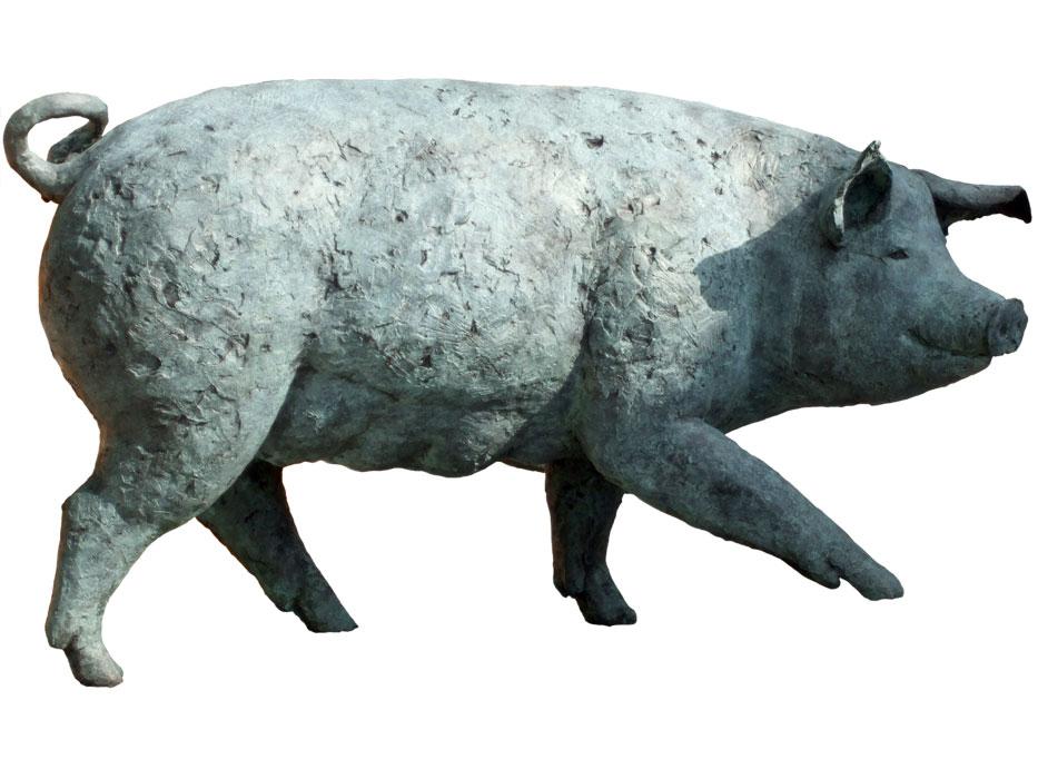 Schwein 2009 – AuftragsarbeitBronze, patiniert – 68 x 128 x 49 cm